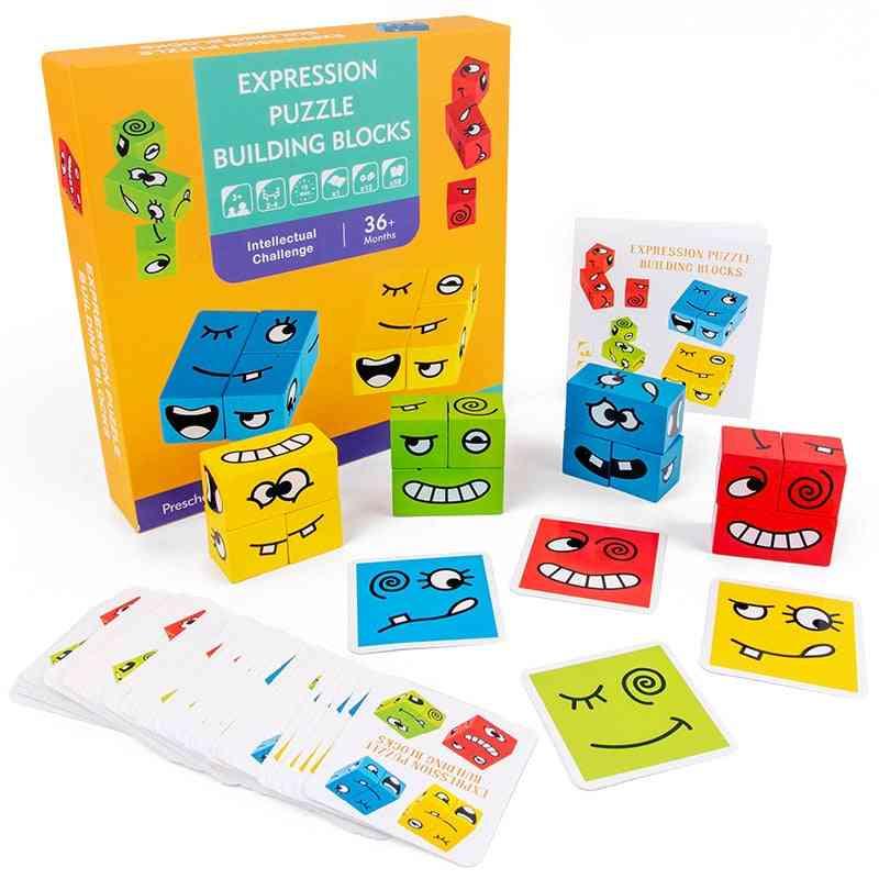 Geometric Emoji Cubes-expression Puzzle Building Blocks