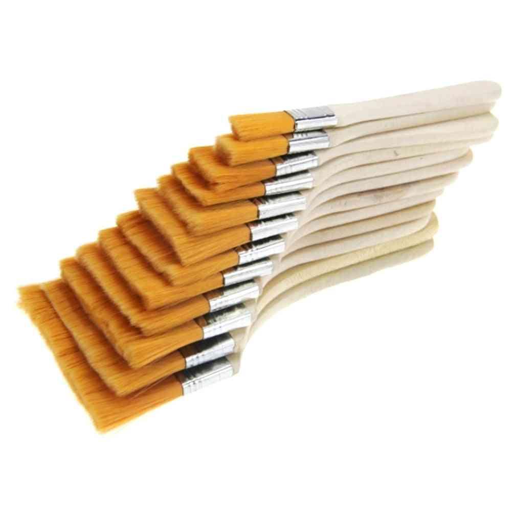 12pcs Of Acrylic Portable Nylon Paint Brush With Soft Wood Handles