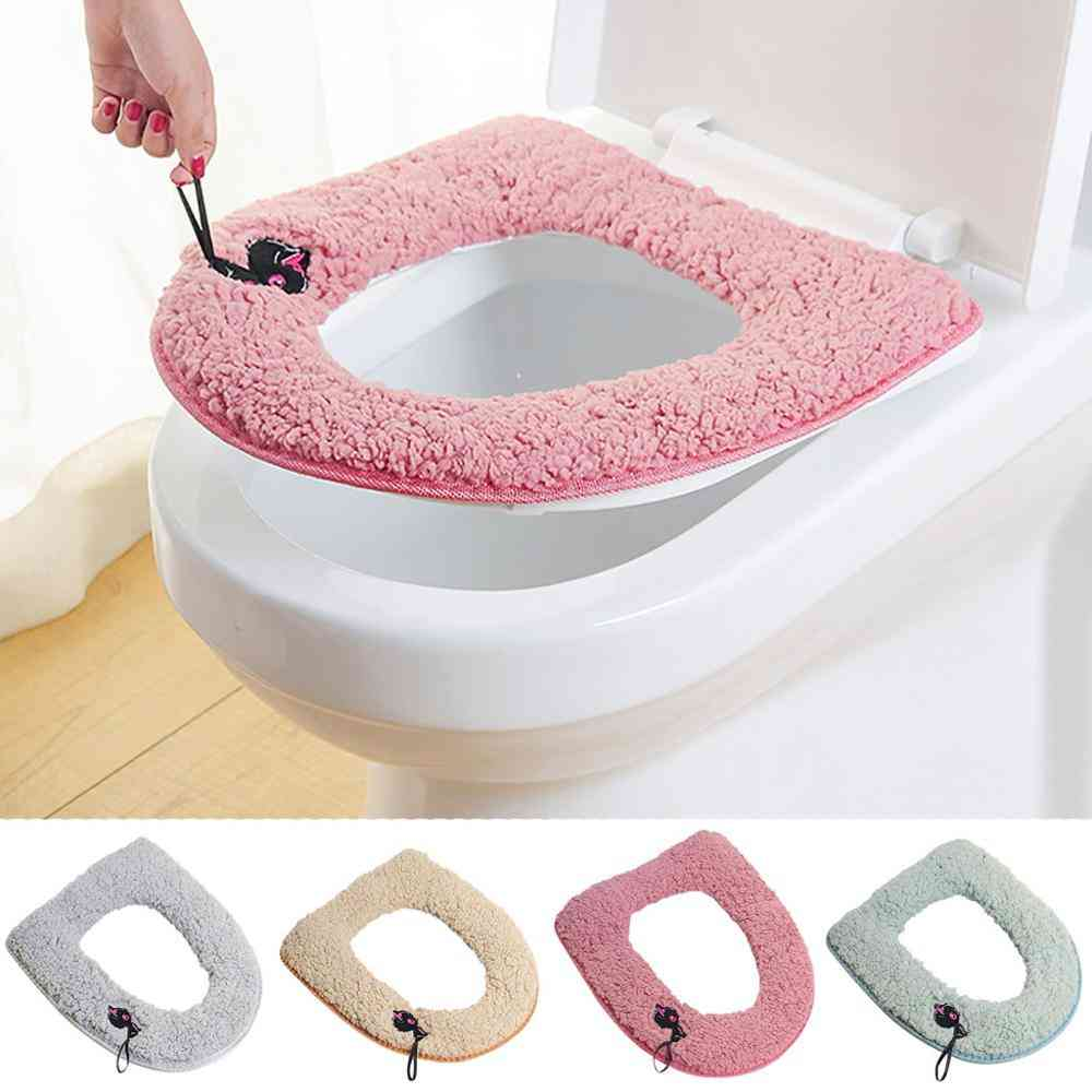 Toilet Seat Glued Type Case - Washable Cute Embroidered