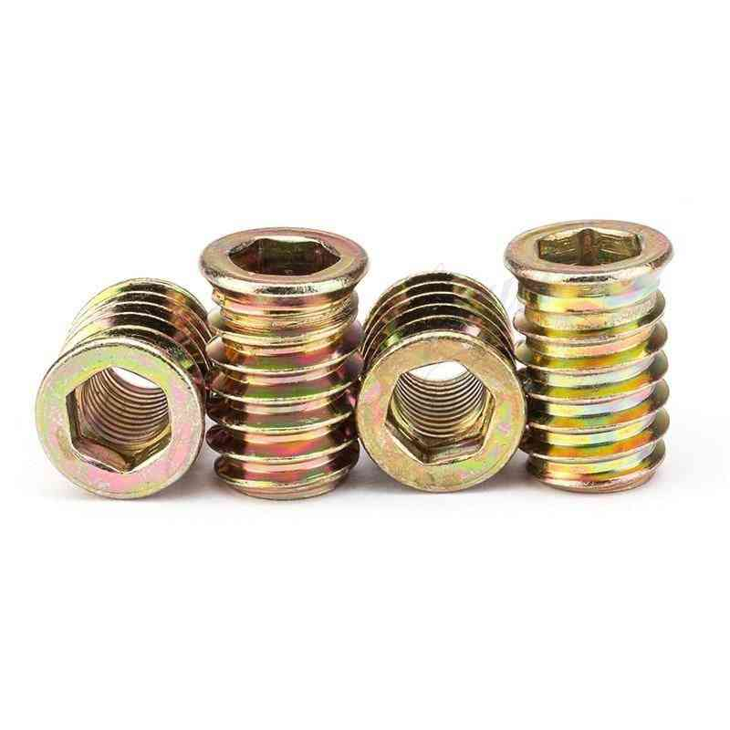 Carbon Steel, Hexagon Threaded Insert Nuts For Wood Furniture