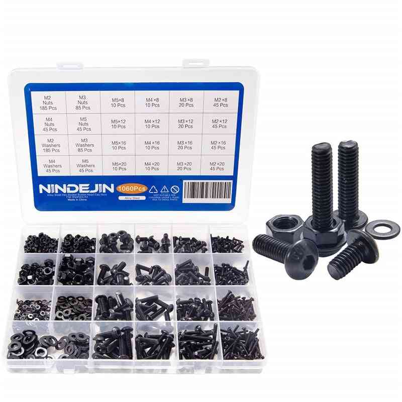 Hex Button Head Screws, Washers And Nuts Assortment Kit