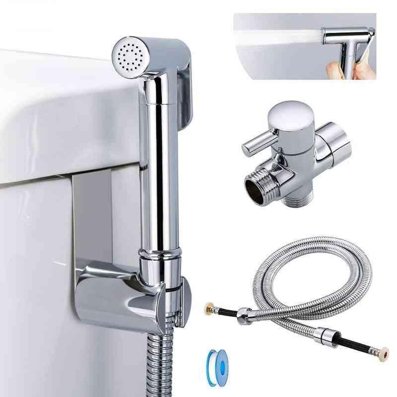 Toilet Hand Held Bidet Sprayer Kit With Hose & T-adapter & Holder