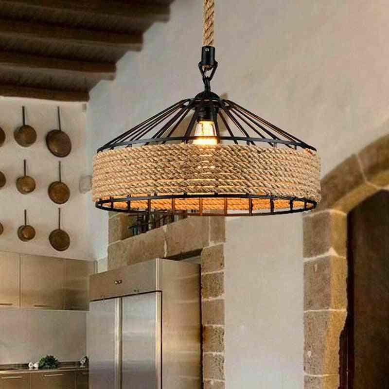 Retro Vintage Style-hemp Rope Design, Hanging Lamp For Decoration