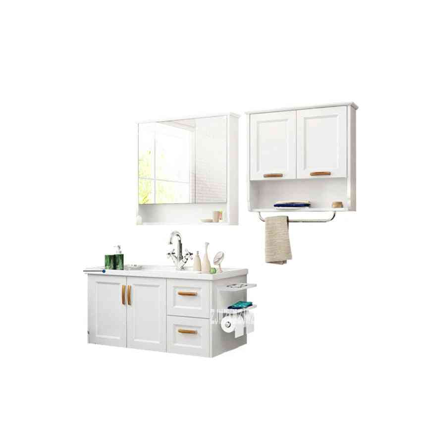 Wooden Toilet Mirror, Wall Cabinet Ceramic Washstand Sink Combination
