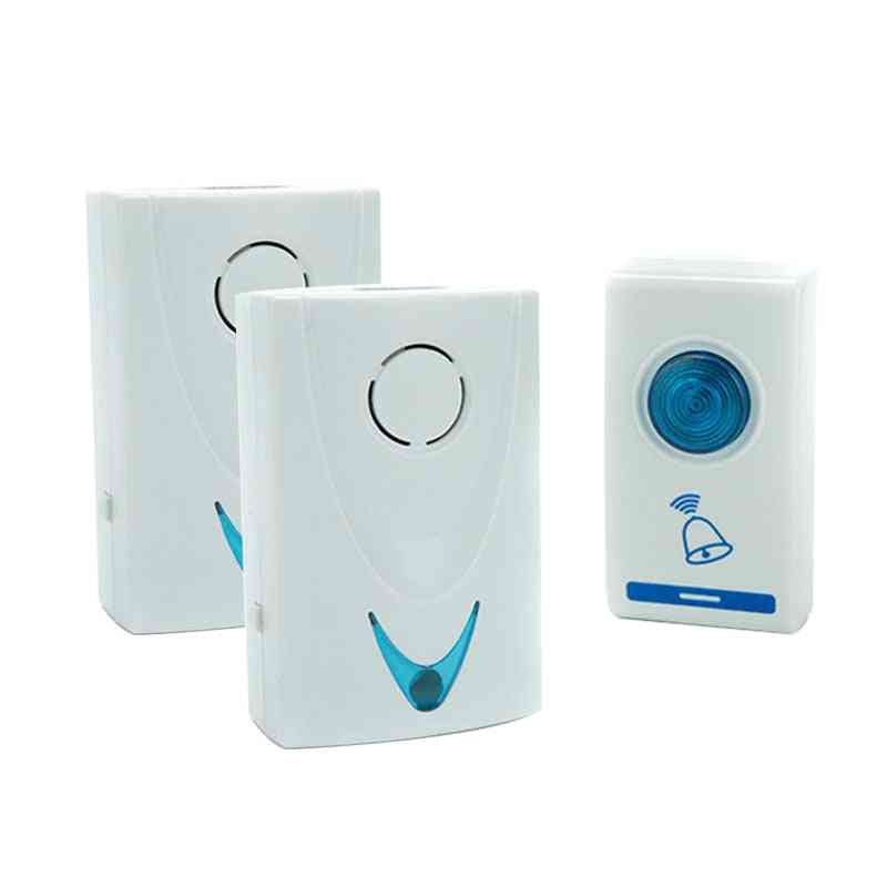 Wireless Doorbell Led With 2-button, 3-receiver Battery Powered
