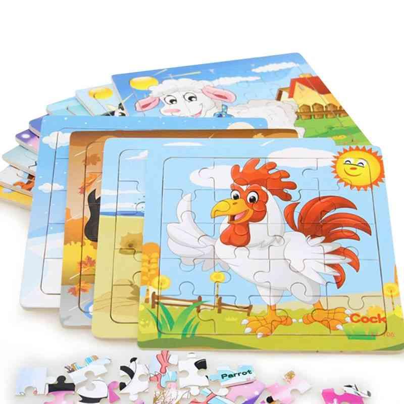 Style Educational Wooden Puzzle - Animal Vehicle Toy