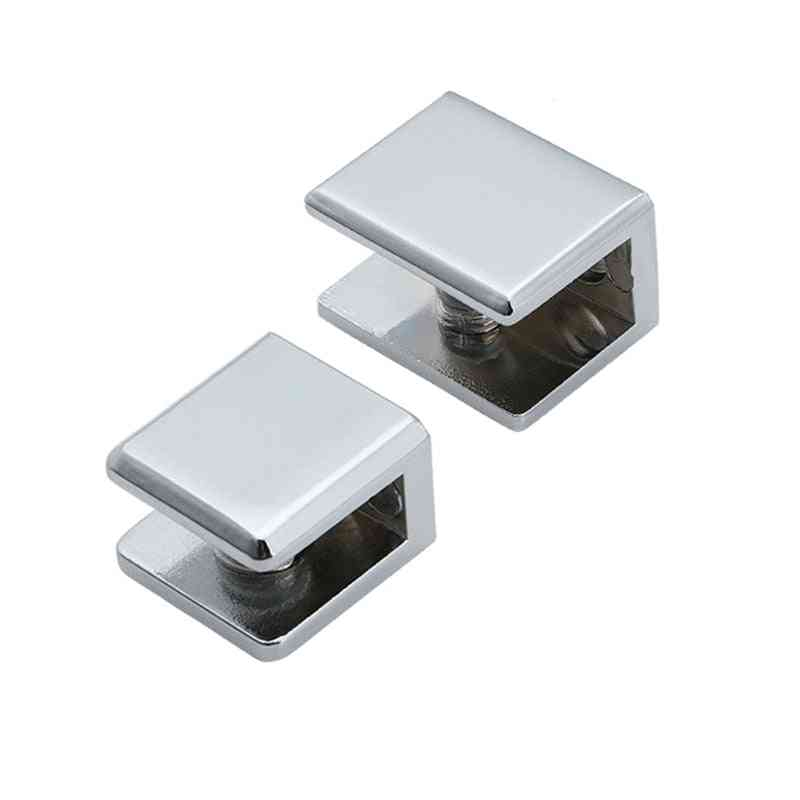 Square Shape Zinc Alloy Glass Clamp - Bracket Glossy Shiny Shelf