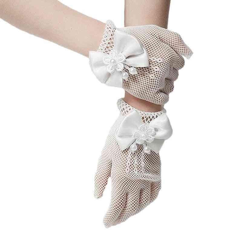 Girls Gloves - Mesh Bow Pearl Princess Party Supplies