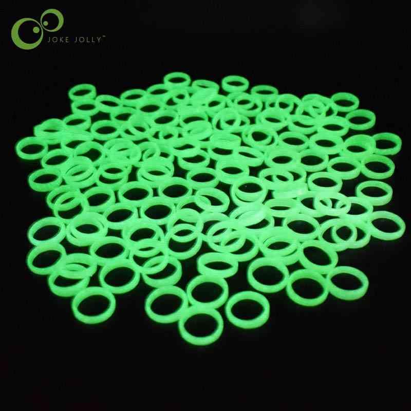 20pcs/lot Jewelry Luminous - Fluorescent Cute Plastic Glow In The Dark Finger Ring