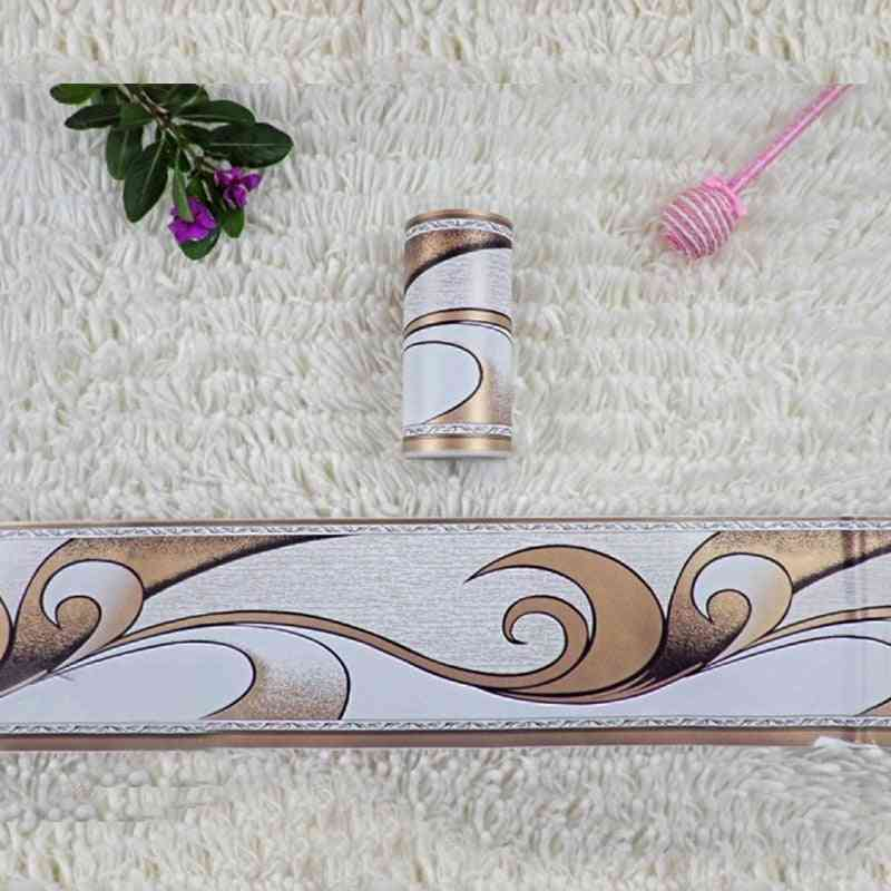Pastoral Flower Printed-waist Line Stickers, Pvc Waterproof And Self-adhesive Wallpaper Border