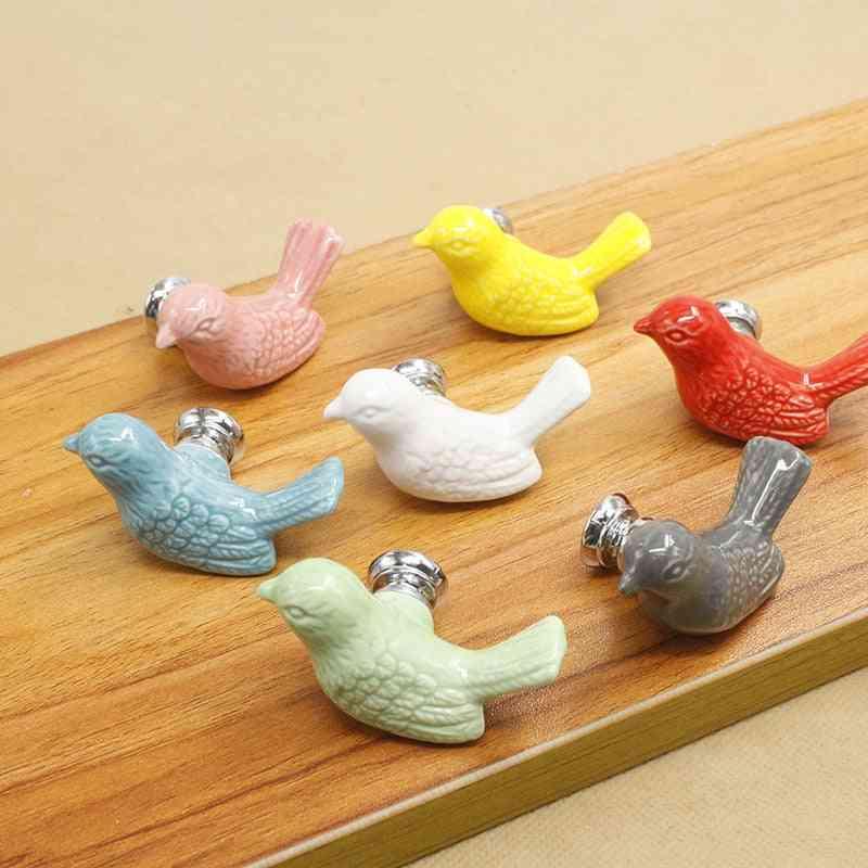 Colorful Ceramic Bird Design Knobs, Door Pull Handles