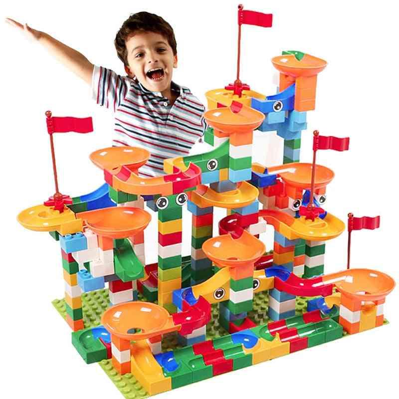 Marble Race Run, Maze Ball Track - Funnel Slide Building Block Brick, Educational Toy