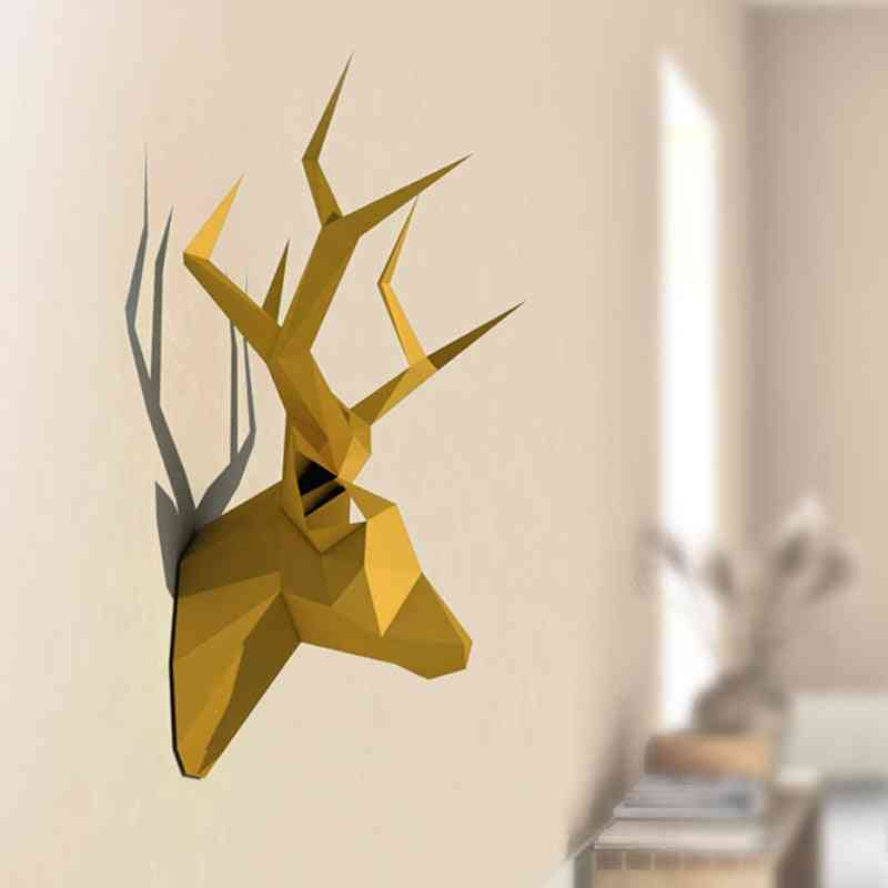 3d Animal Paper Model Toy - Pear David's Deer Head, Home Decor Living Room