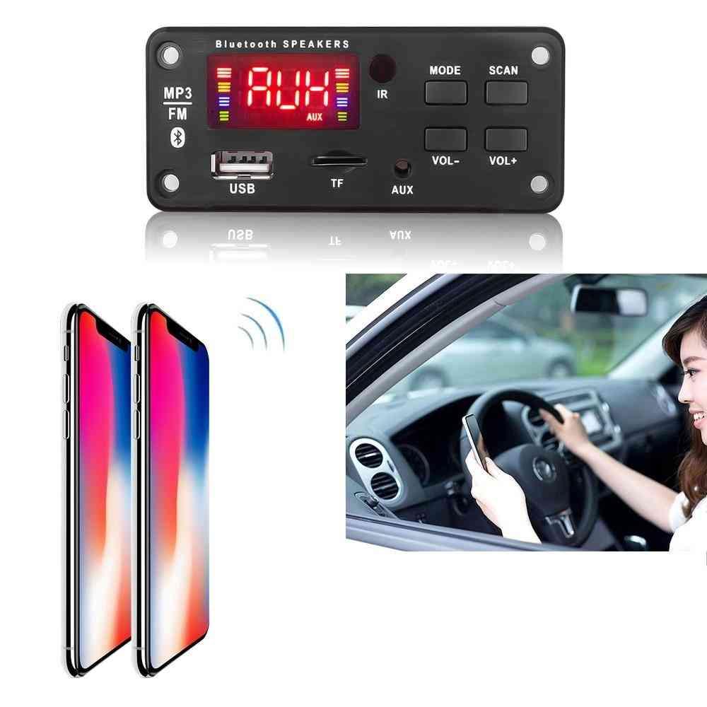 12v Mp3 Wma Wireless Bluetooth 5.0 Decoder Board - Car Audio Module Usb Fm Tf Radio Aux Input Support Recording