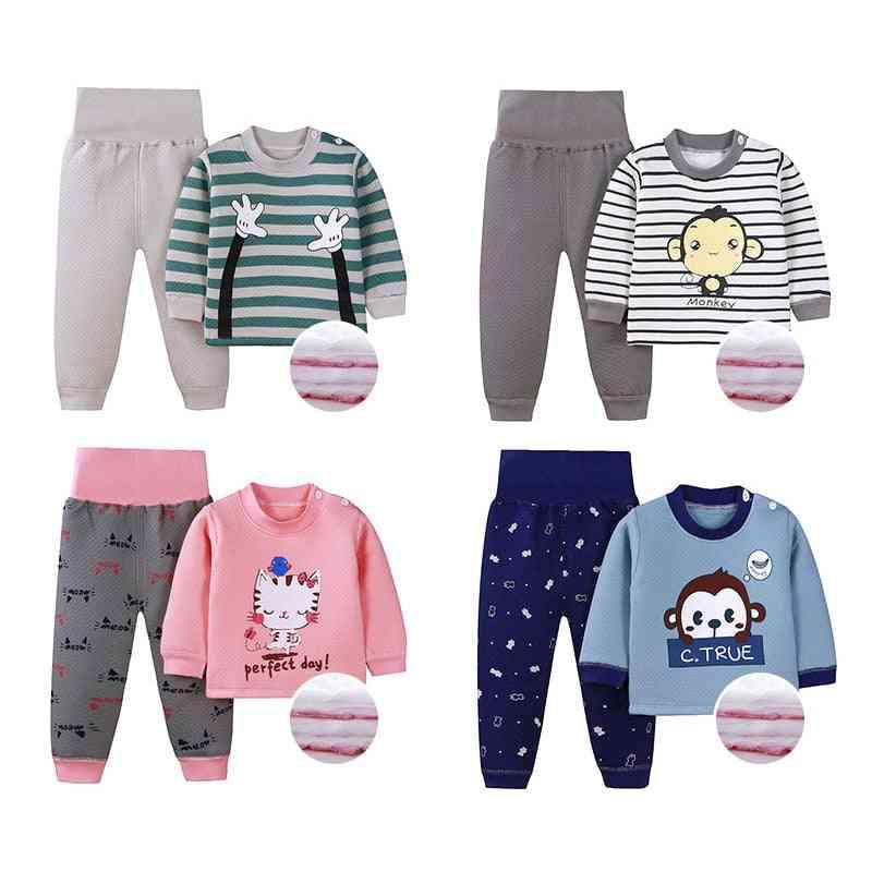 Children's Thermal Underwear Suits, & Cute Cartoon Clothes Winter Warm Thickened High Waist Pajamas Sets