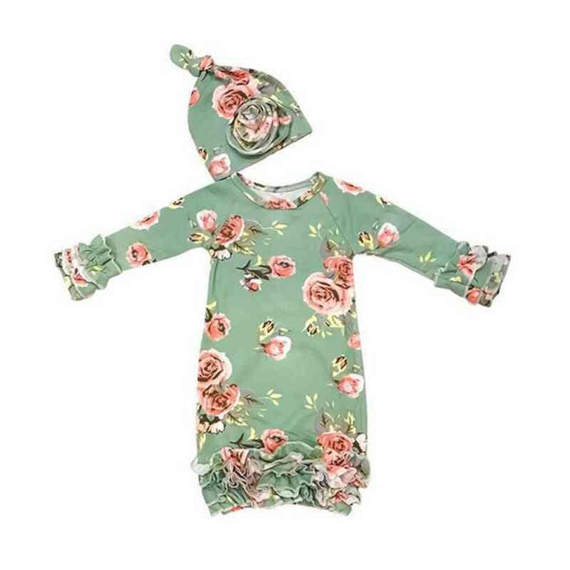 Newborn Baby Girl Sleepwear Dress Print Floral Long Sleeve Swaddle Wrap Blanket Bag +hat