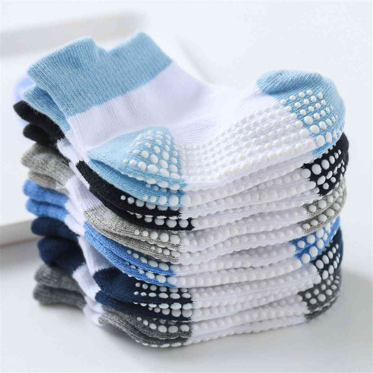 Cotton Baby 's Floor Socks- Non-slip Boat Low Cut With Rubber Grips