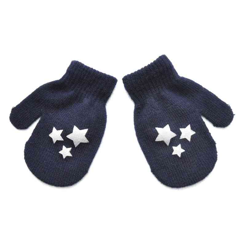 Heart Knitted Gloves- For Newborn With Cartoon Star Decor