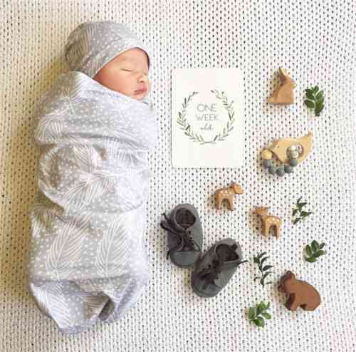 Cotton Swaddle-baby Wrap Blanket And Hat Set For Photography Prop