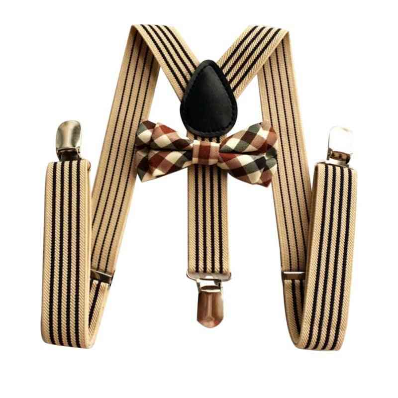 Striped Strap And Plaid Bow Tie Kit For/girls Fashion