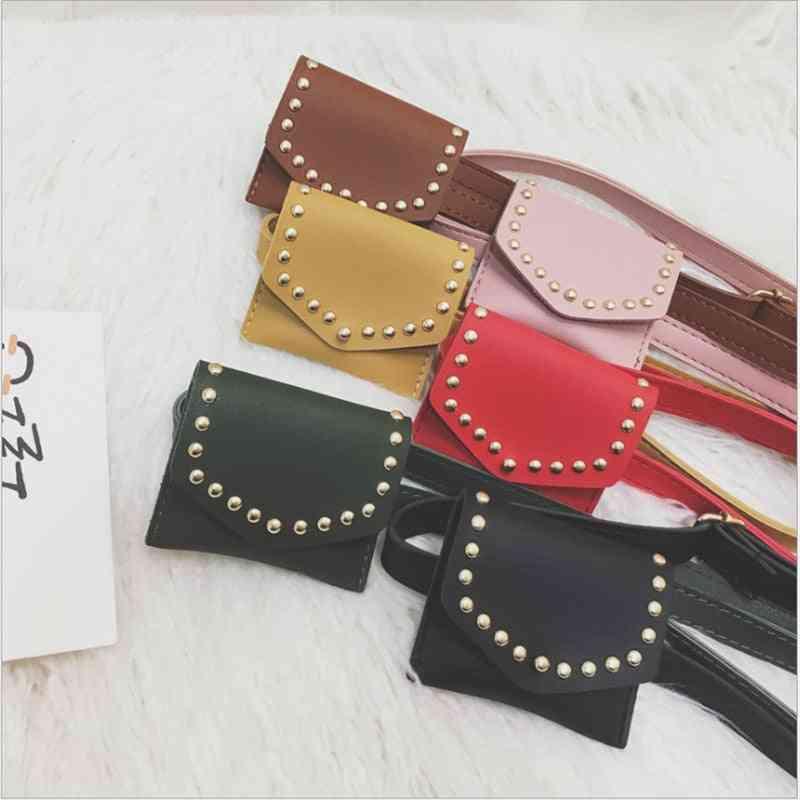 Small Waist Belt Purse - Pu Leather Rivets Solid Bag