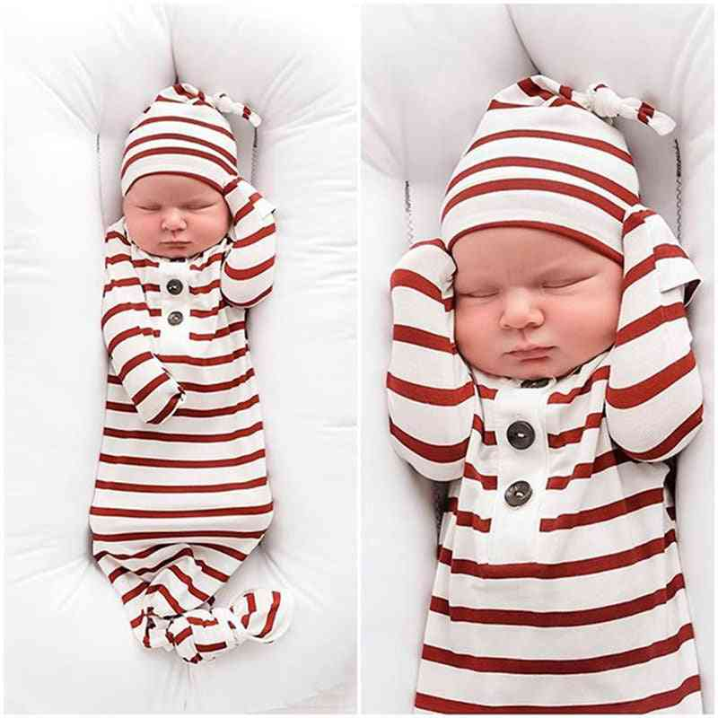 Newborn Baby, Striped Sleeping Swaddle Bag Blanket With Hat