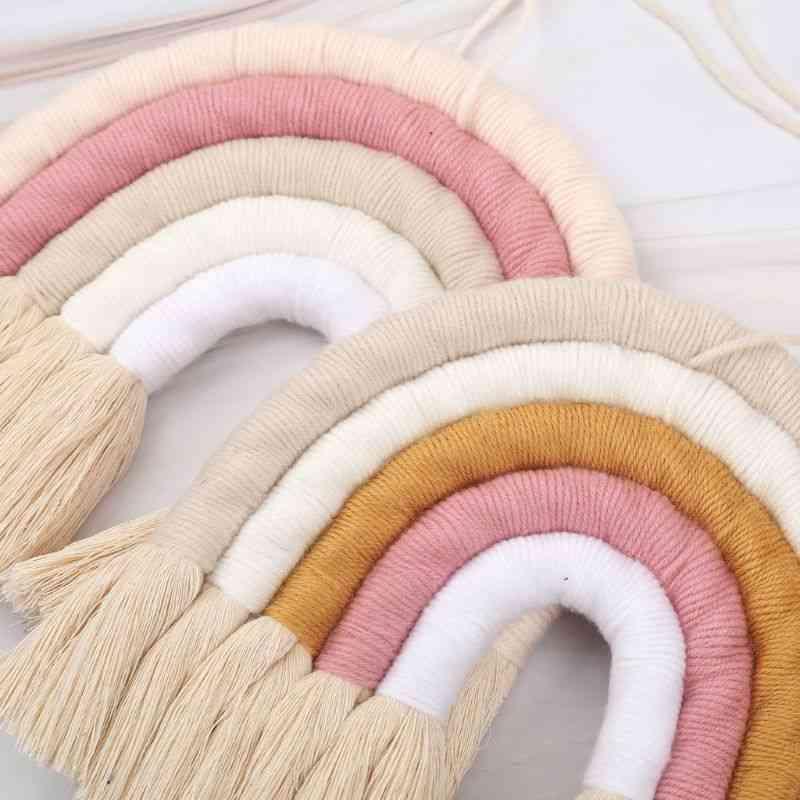 Boho Style, Handmade Macrame Rainbow-wall Hanging Decor