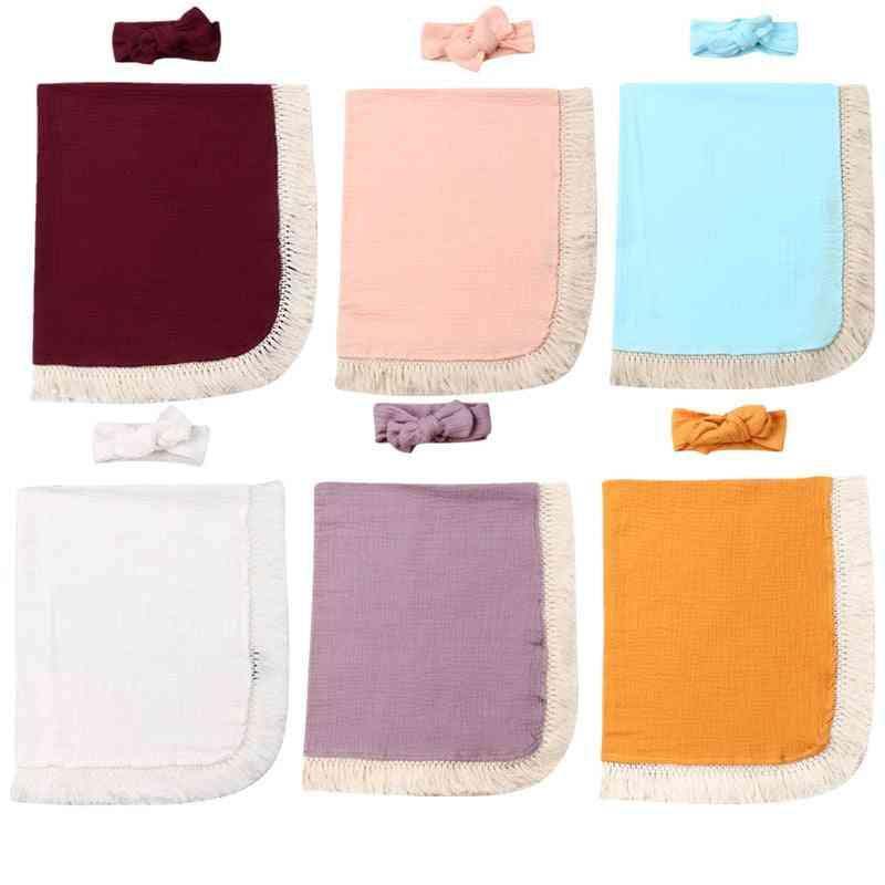 Baby / Boy Tassel Swaddle Wrap - Blanket Sleeping Mat