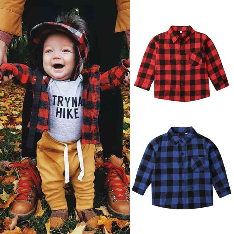 Toddler Baby Girl, Boy Clothes Plaid Top, Shirt, Coat, Jacket Outwear