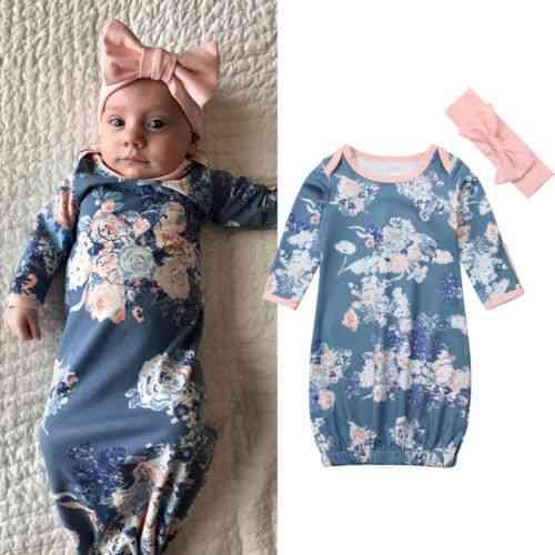 Baby Wrap Swaddling Sleeping Nightgowns +headband Set