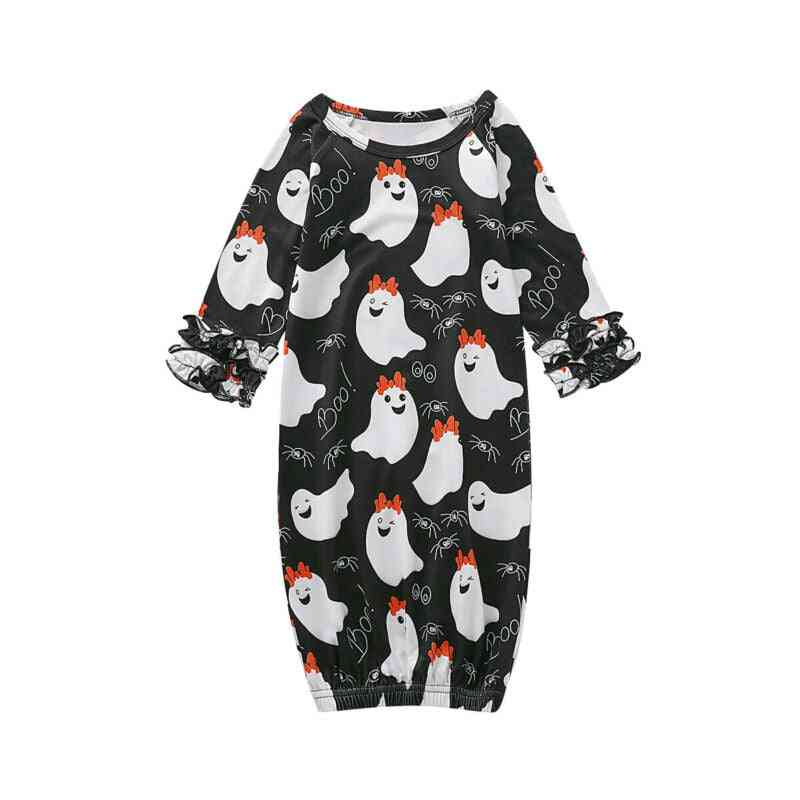 Ghost Printed, Long Sleeve Nightgowns For Babies