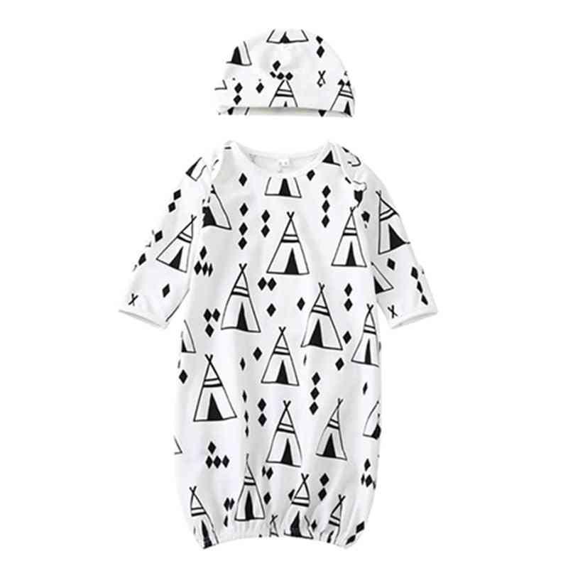 Newborn / Cartoon Pattern Sleeping Robes - Cotton Sleepwear Gown, Outfit Cap Suit