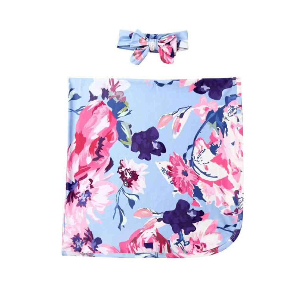 Newborn Infant Baby Floral Cotton Sleeping Bag- Swaddle Wrap Blanket Headband Set