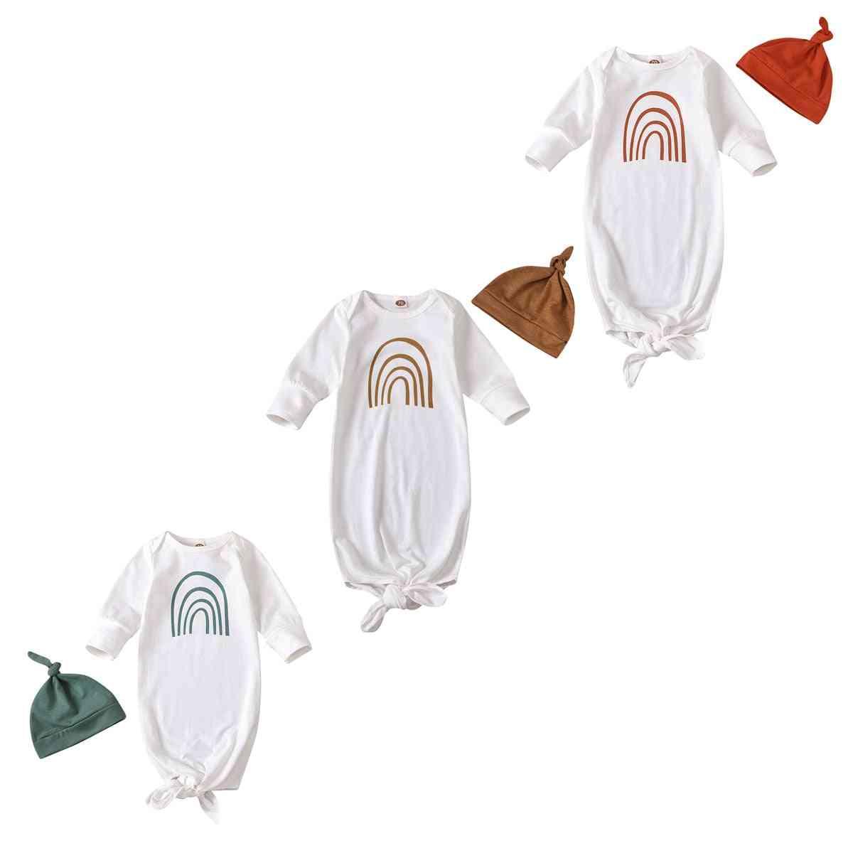 Rainbow Stripe Print, Sleeping Bags And Hat-long Sleeve Nightwear