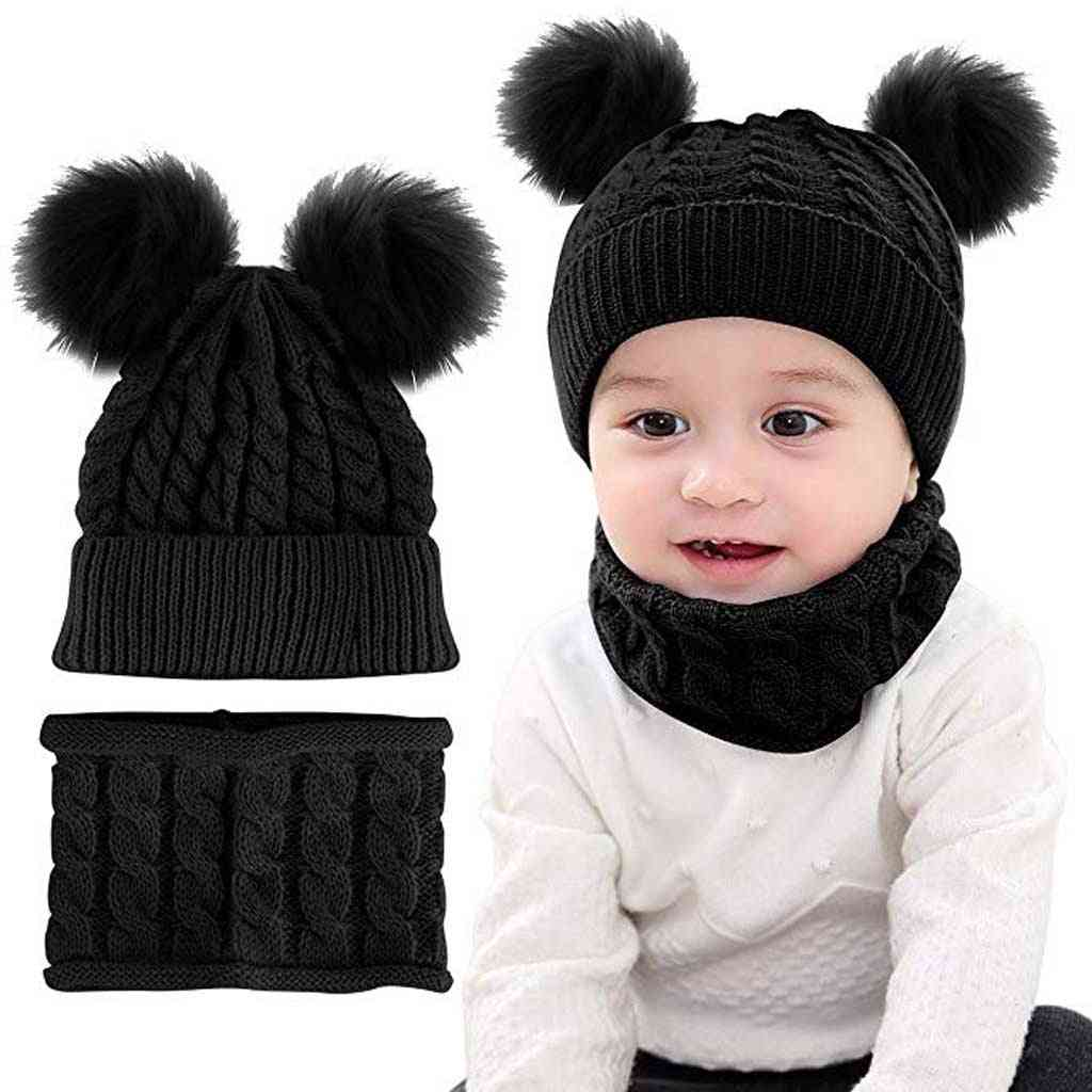 Newborn Baby Boy / Girl Winter Warm Knit Crochet Beanie Cap, Hat & Scarf Set
