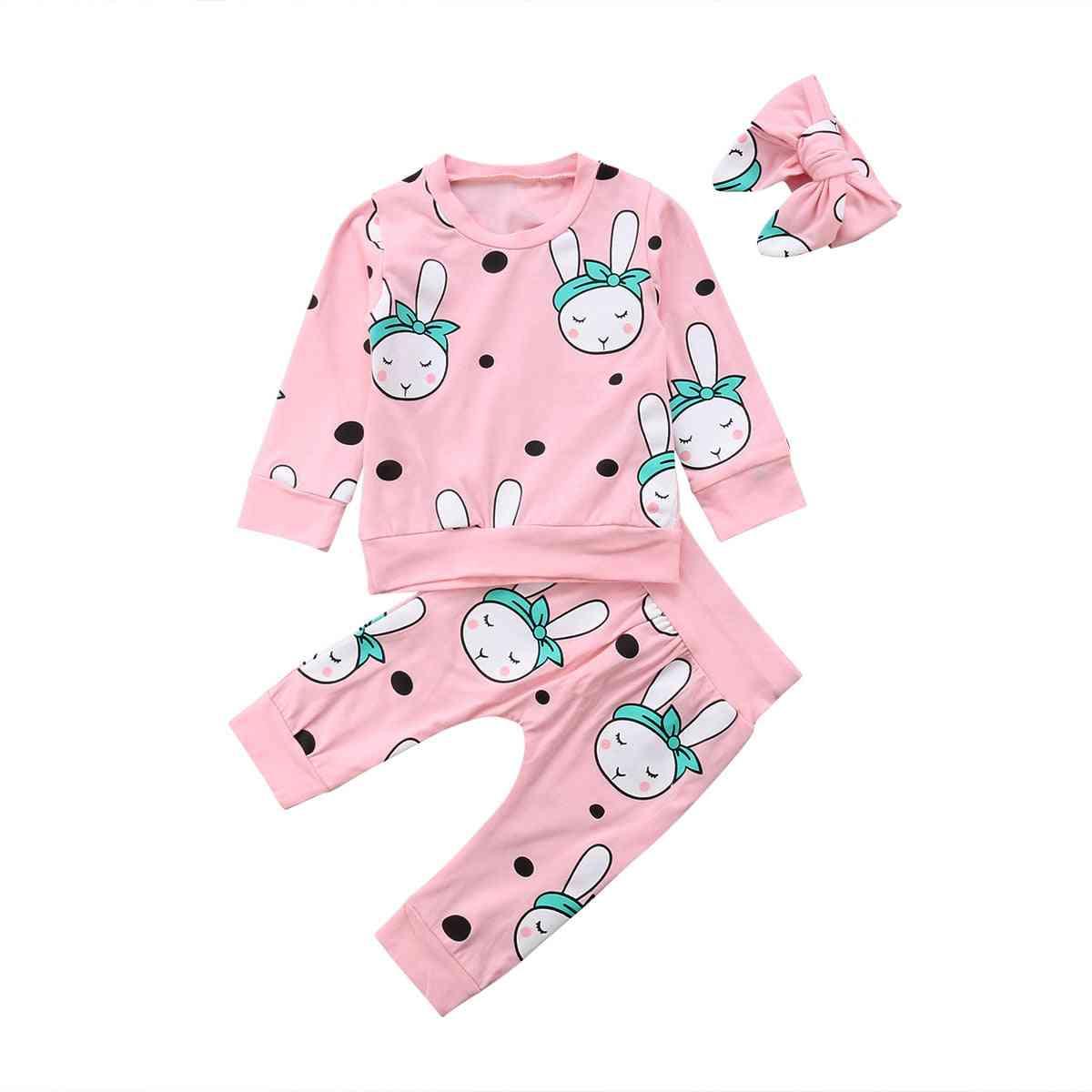 Autumn Winter Newborn Girl / Boy Sleeper Clothes Set, Long Sleeve Cartoon Rabbit Tops & Pant Pyjamas