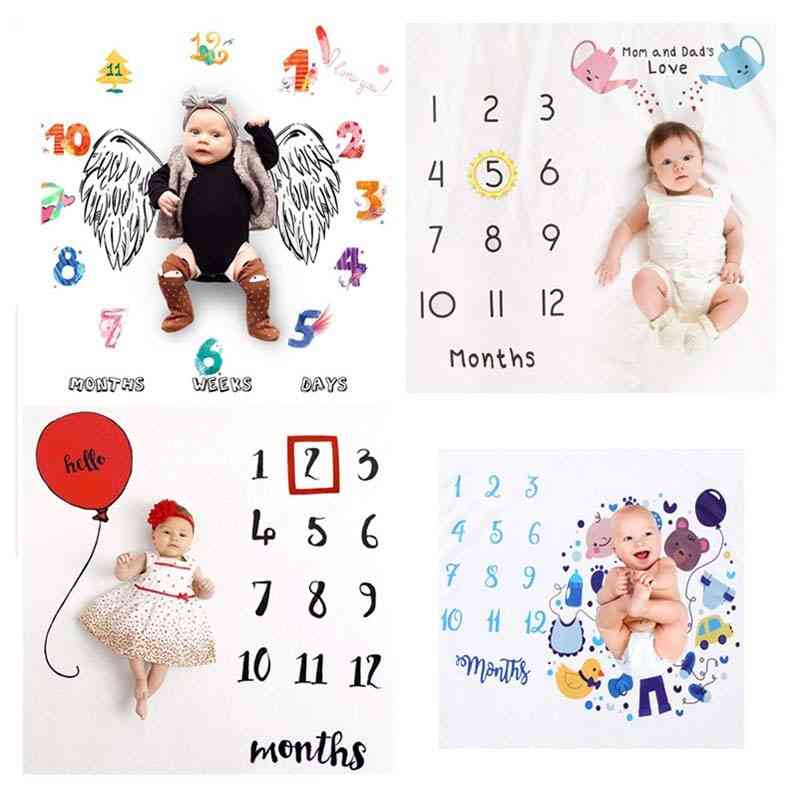 Infant Photography Props Blanket Newborn Baby Monthly Growth Milestone Background Accessories