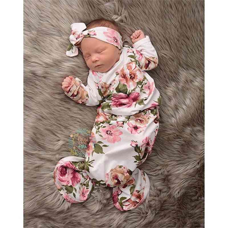 Floral Print Swaddle Wrap With Hairband For Newborn