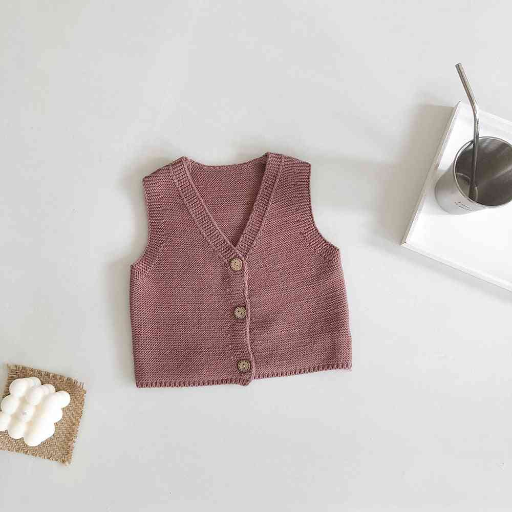 Baby Girl Vest - / Cardigan Cotton Yarn Knitted Sweater
