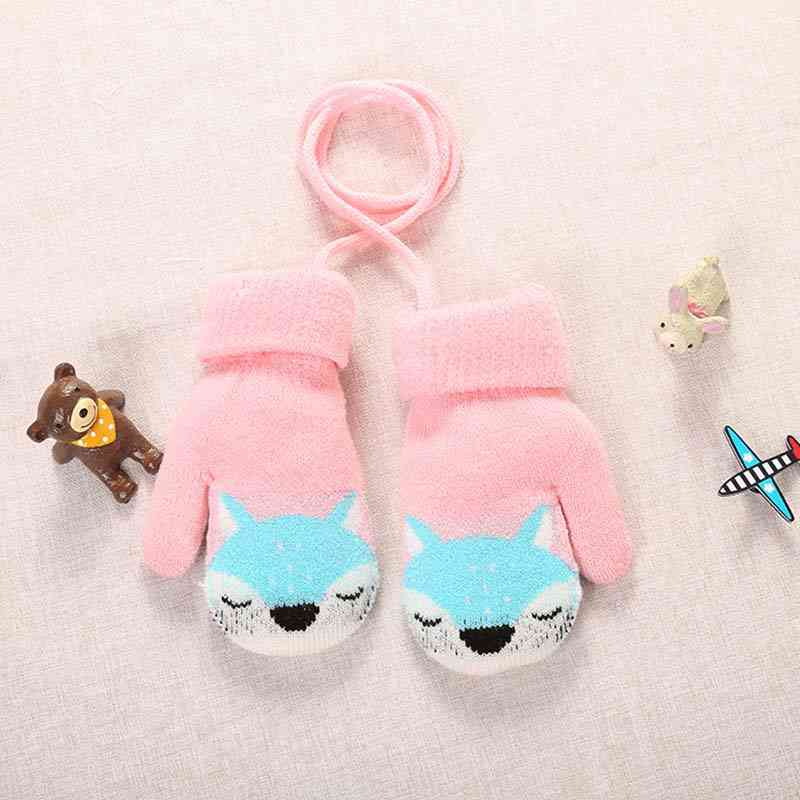 Cartoon Fox Baby Winter Warm Gloves - Knitted Teething Mitten Handschoen