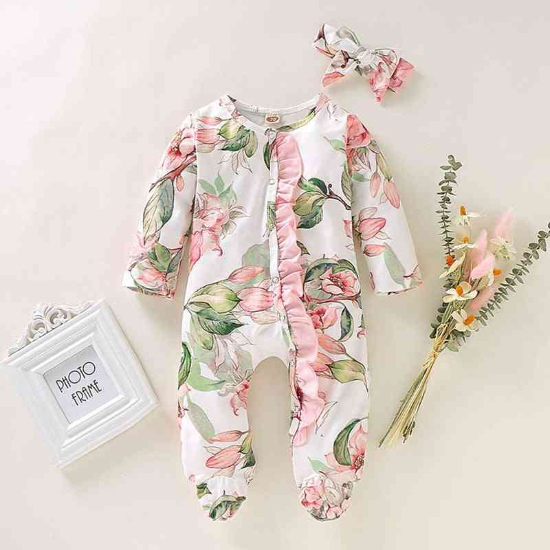 Newborn Infant Baby Girl Boy Footed Sleeper Romper, Headband Clothes, Outfits Set