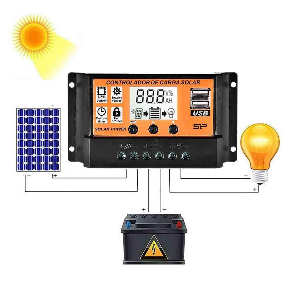 Lcd Screen Dual Usb Solar Panel Regulator