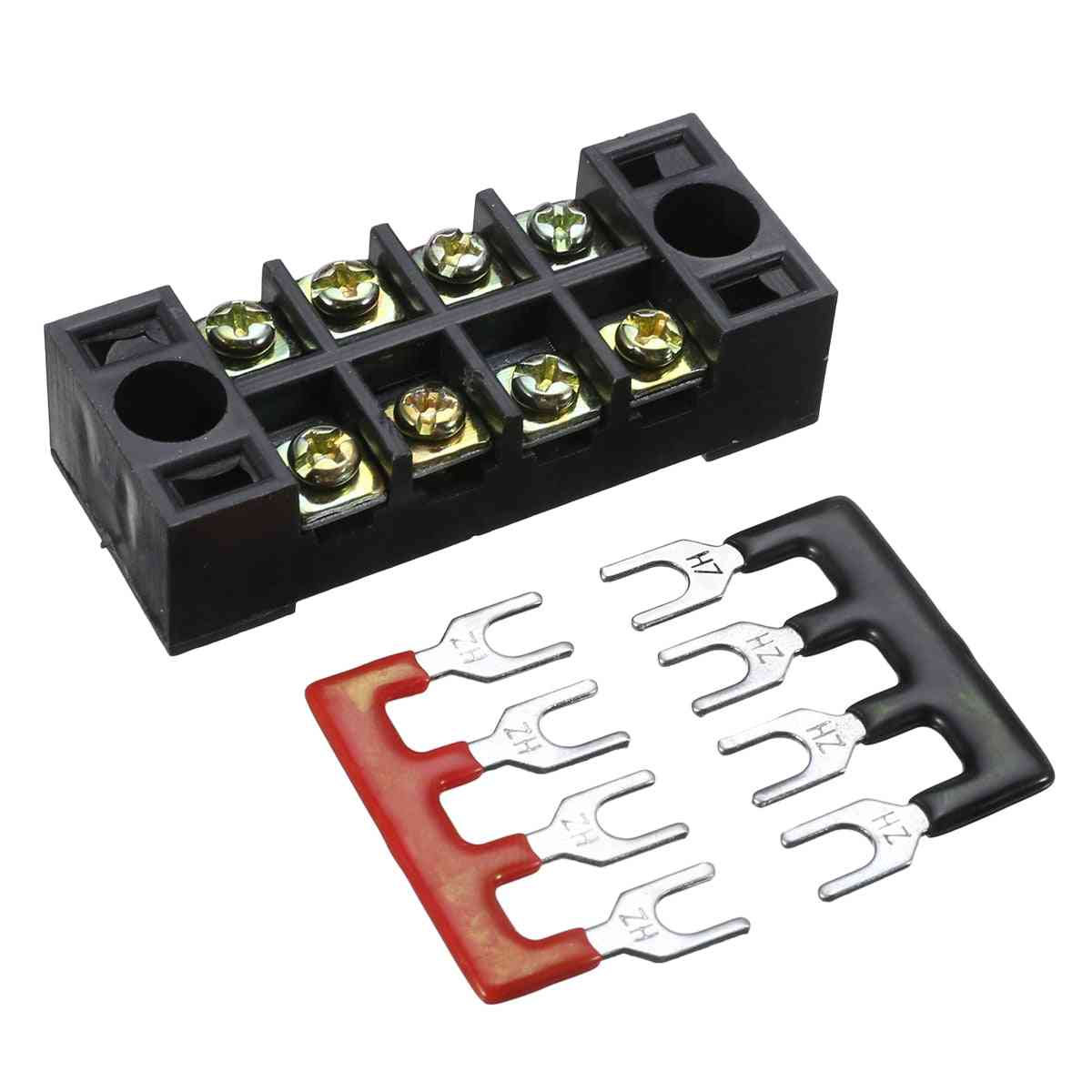 600v ,15a .4p- Dual Row Wire Barrier Terminal Block With 2 Connector Strips