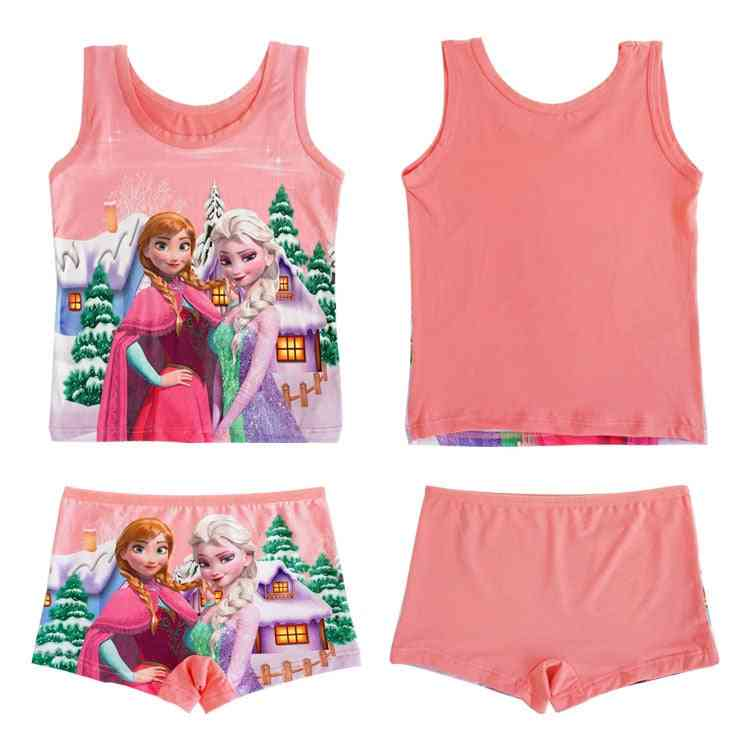 Princess Elsa Frozen Cartoon Printed, Sleeveless Vest T-shirt And Shorts For
