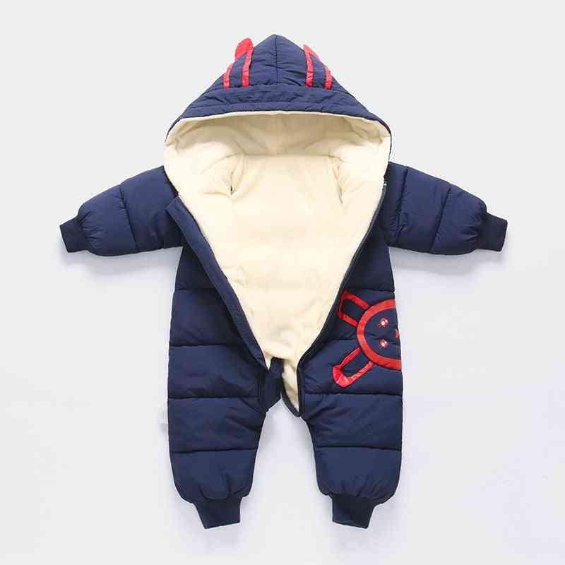 Winter Plus Velvet Warm Overalls Kids Coat Baby Wear - Newborn Snowsuit Boy Romper Down Cotton Girl Clothes Bodysuit