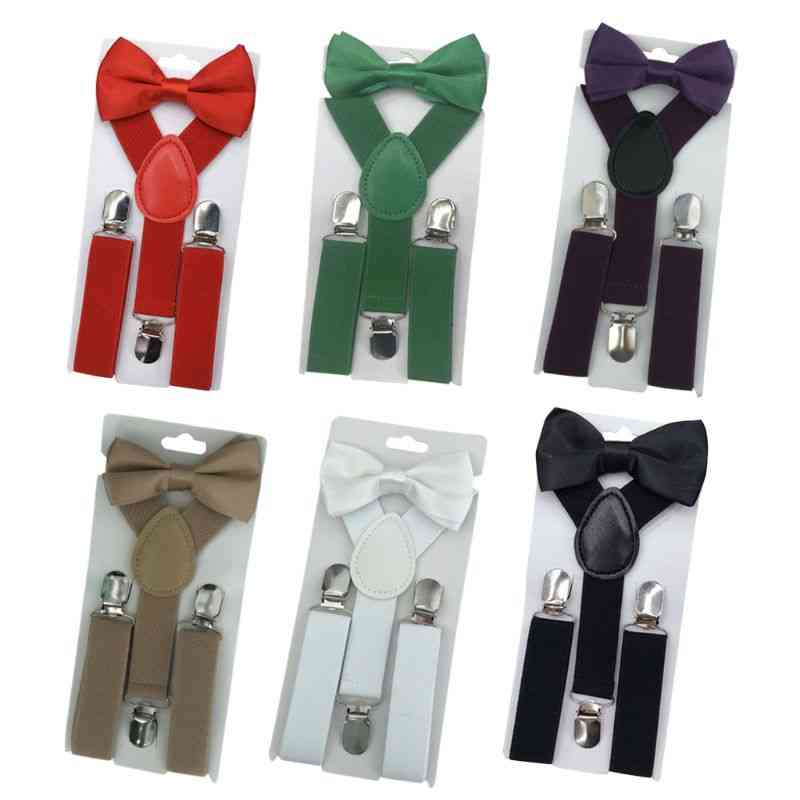 Y Shape Design-adjustable Pant Suspender Strap Clip And Bowknot Set