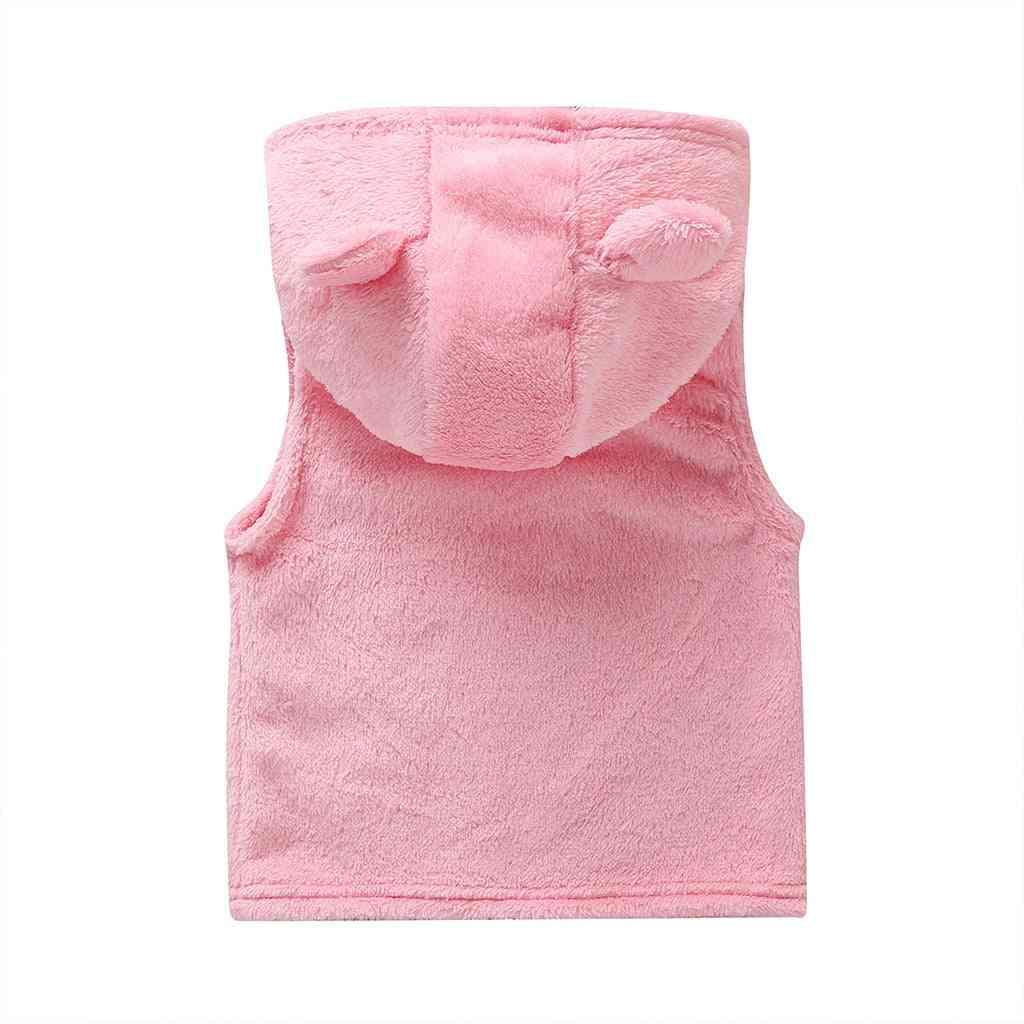 Ears Hooded Zipper Warm Vest For Babies
