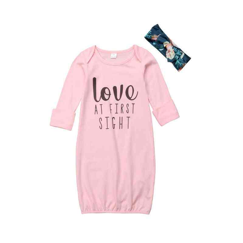 Love At First Sight Printed Nightgowns And Headbands For Girl Babies