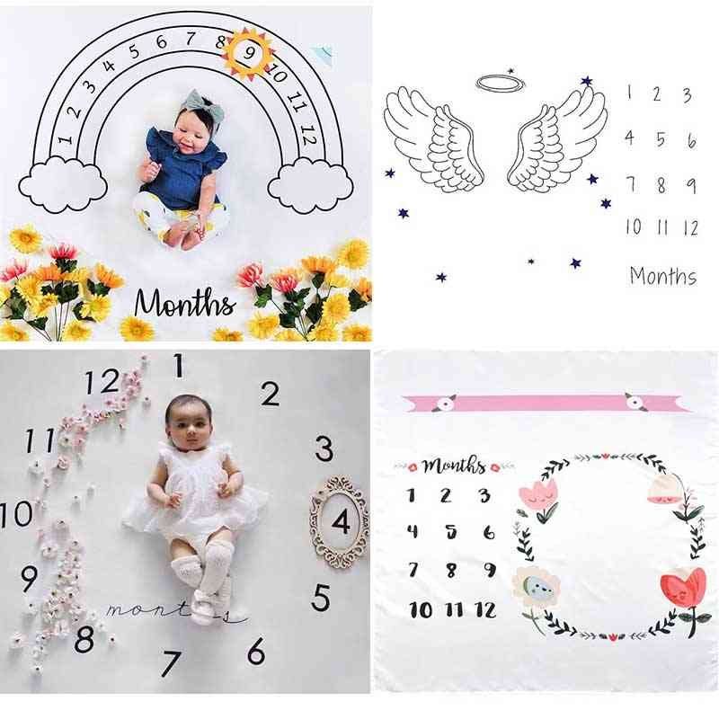Cartoon Pattern, Infant Milestone Play Mats For Photoshoot Props