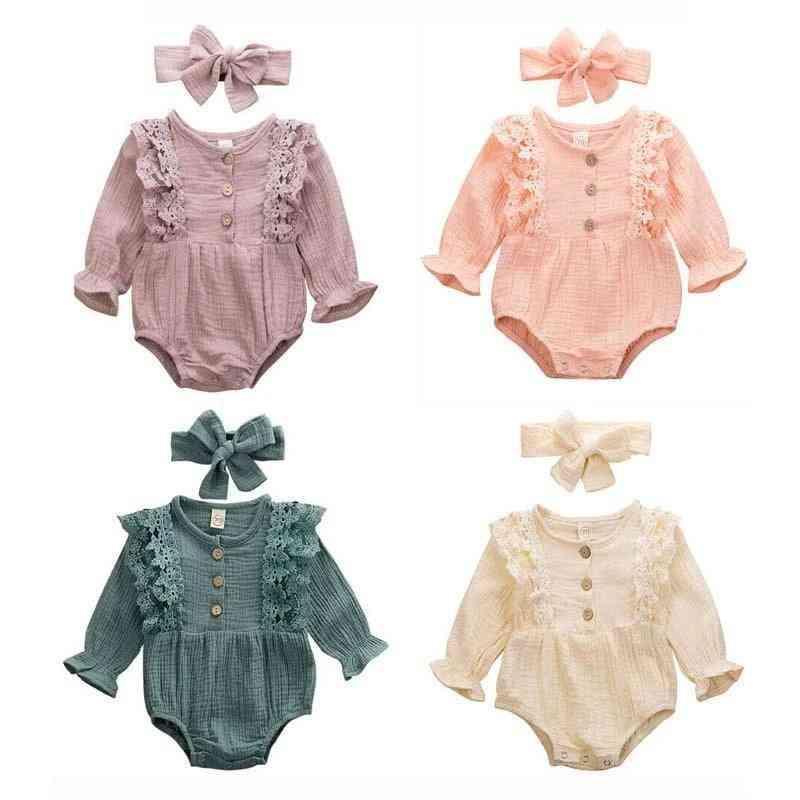 Newborn Warm Cotton Linen Button Ruffled Jumpsuit